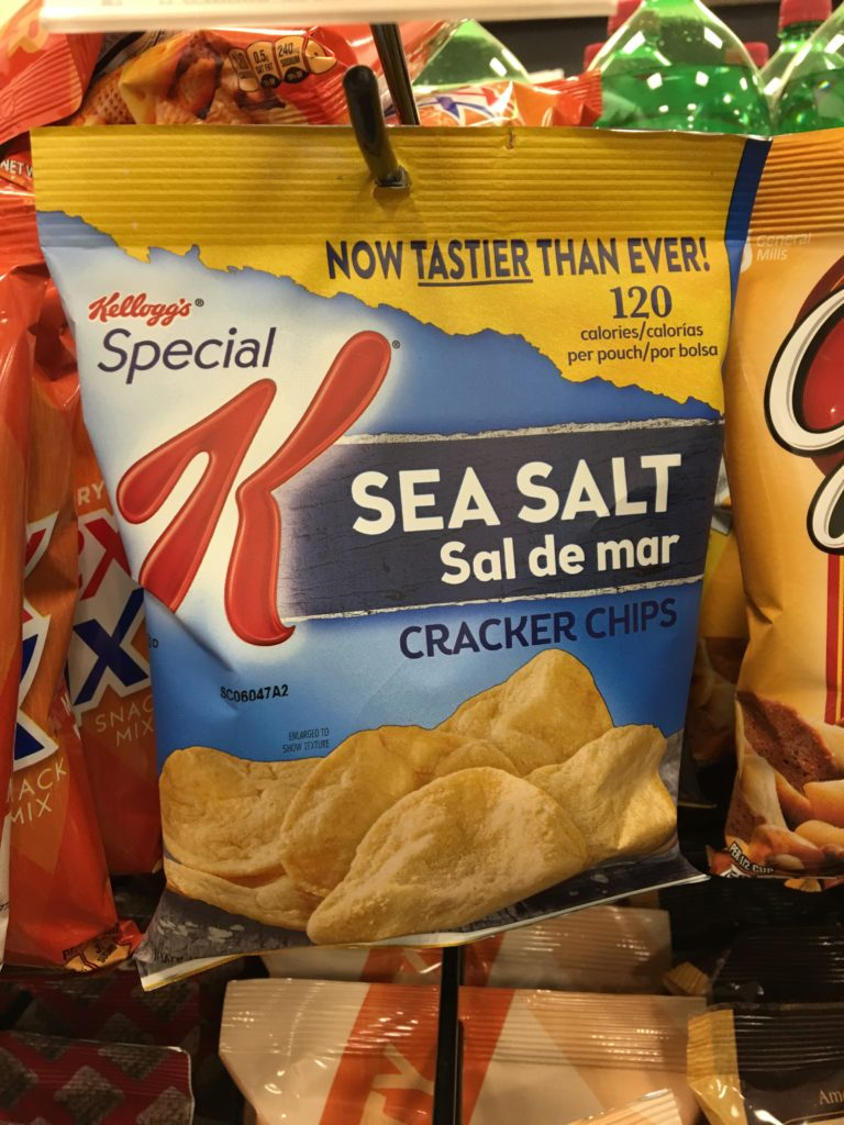 "Kellogg Special K Sea Salt Cracker Chips are labeled ""Now tastier than ever!"" which, honestly, makes me suspicious."