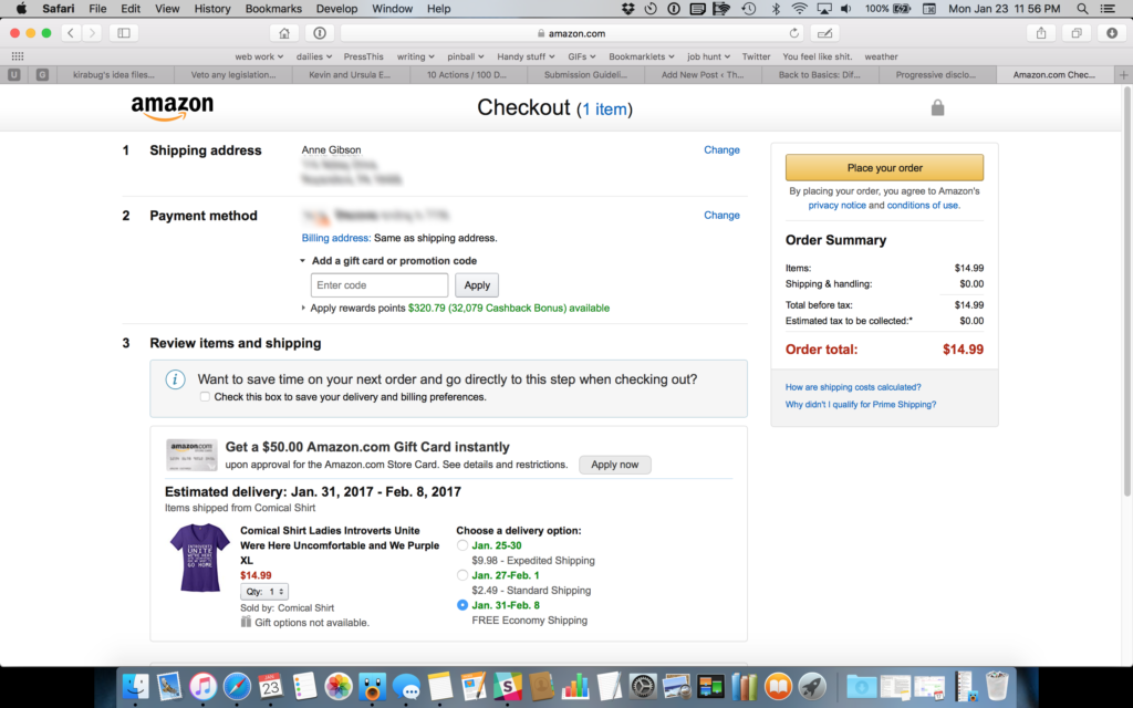 The Amazon Checkout screen including shipping address, payment method, items being shipped, billing address, shipping options and cost, and total cost of the transaction