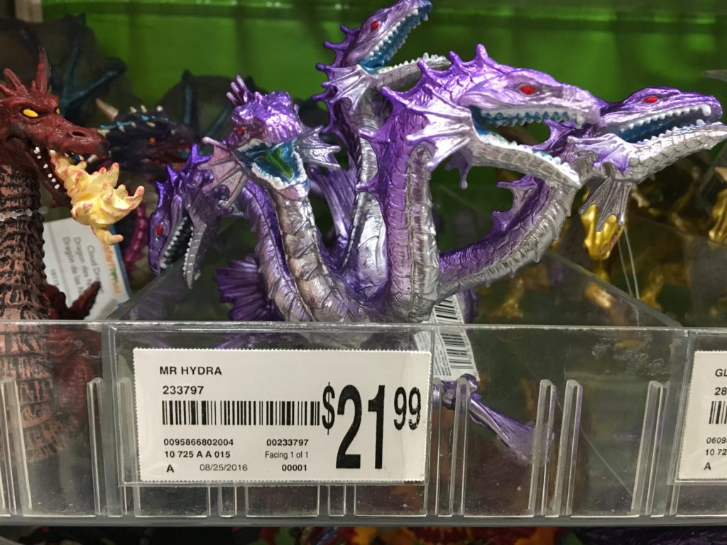 "A plastic hydra at a toy store. The product is listed as ""MR HYDRA"" on the tag. Mister Hydra?"