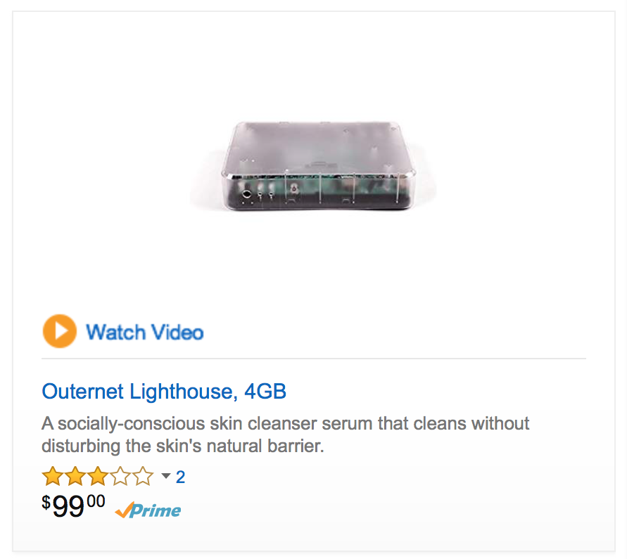 "A four GB router on Amazon's site is listed as claiming it is a ""socially-conscious skin cleanser serum that cleans without disturbing the skin's natural barrier."" Now that's a firewall!"