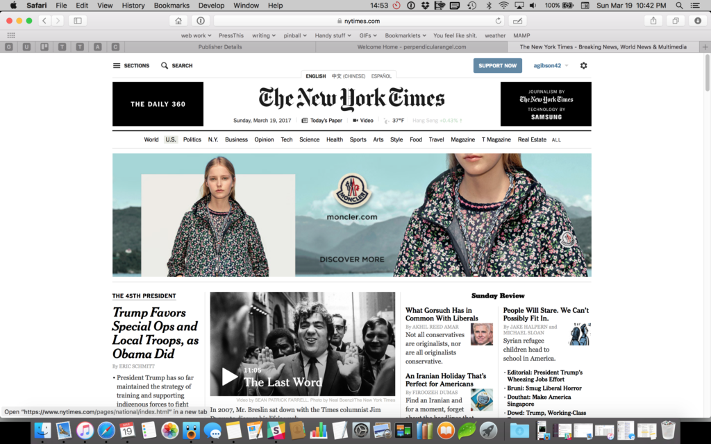 The homepage of the New York Times as of 19 March 2017. There is no text on this page whether global navigation, in-page navigation, or body copy, that isn't black on white.