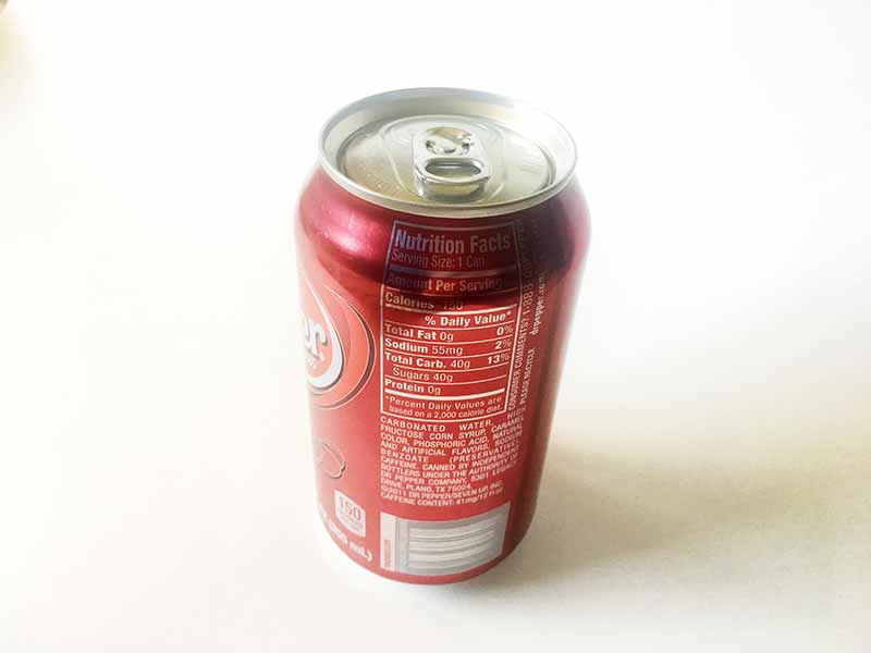 Dr. Pepper's nutrition facts label